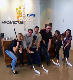 Davis prepares to compete against other commercial real estate teams during Goodmans Chair Hockey on Oct. 20 which will benefit First Place AZ, a local nonprofit serving adults with autism.